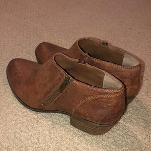 Brown Lucky Brand Booties with side zippers